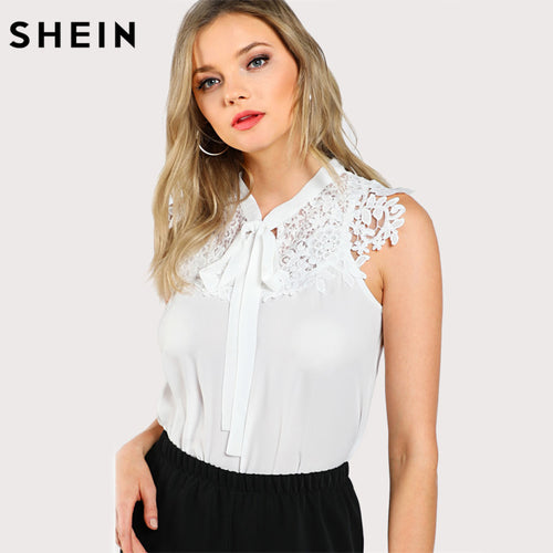 f815c54a39 SHEIN Guipure Lace Applique Tied Neck Top Women Tops and Blouses 2017 White  Band Collar Sleeveless