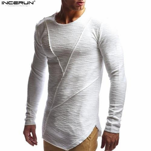 New Mens Hip Hop T Shirt Full Long Sleeve T-Shirt Men Solid Color O-neck Muscle Tees Shirt Fashion Curve Hem Men Streetwear Tops