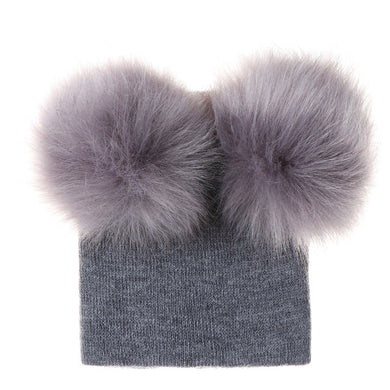 Wool Hat For Baby Kids Faux Raccoon Fur Pom Pom Hats Two Balls Children Skullies Beanies Cap Autumn Winter Crochet Knit Warm Cap