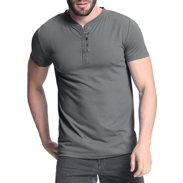 7264acf09 2018 Men's T-shirt Henley Shirts Casual Muscle Tee Short Sleeve Pullov