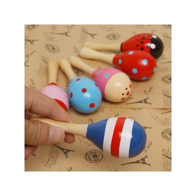 Funny Children Kids' Wooden Maraca Rattle Shaker Musical Instrument Educational Toy