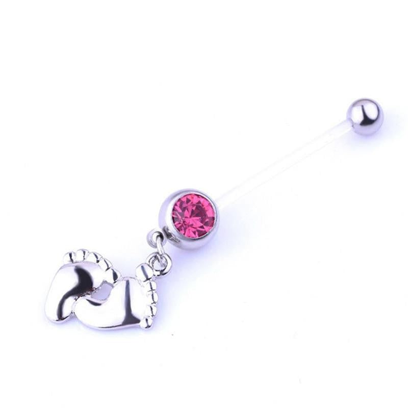 1 Pcs Girl Belly Bar Navel Ring Piercing Pregnancy Maternity Baby Feet Pendant Navel Ring