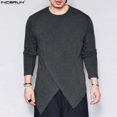 INCERUN Men's Long Sleeve T Shirt Solid Loose Crew Neck Irregular Hem Casual Shirt Fashion Male Extra Long Tee Tops Plus Size