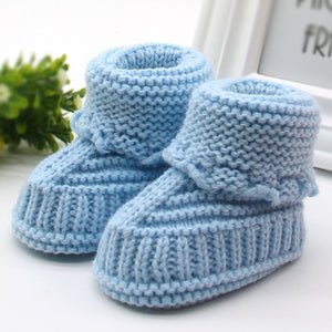 Woolen Baby Snow Shoes Infants Crochet Knit Fleece Boots Bowknot Toddler Girl Boy Wool Crib Shoes Winter Warm Booties 0-6M