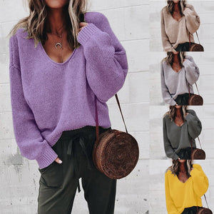 Women's Fashion Autumn Deep V-neck Long Sleeve Solid Color Sweater Blouse Plus