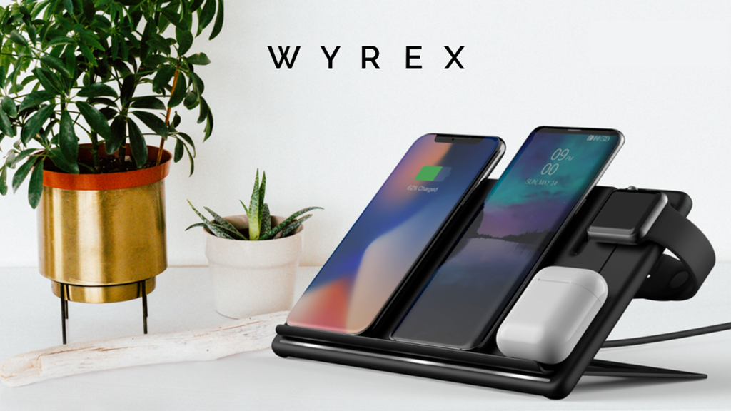 Wyrex 2.0 - Stylish Wireless Multi Charger for Qi-Powered Smartphones, Gadgets and Accessories - 45W USB-C power adapter - US plug