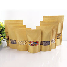 100pcs 4 size Paper Gift Bag For Tea Powder Nut Food Cookie Packaging Zip Lock Bags Gift Bag For Children