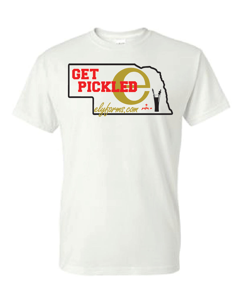 "Ely Farms ""Get Pickled"" Tee Shirt in White"