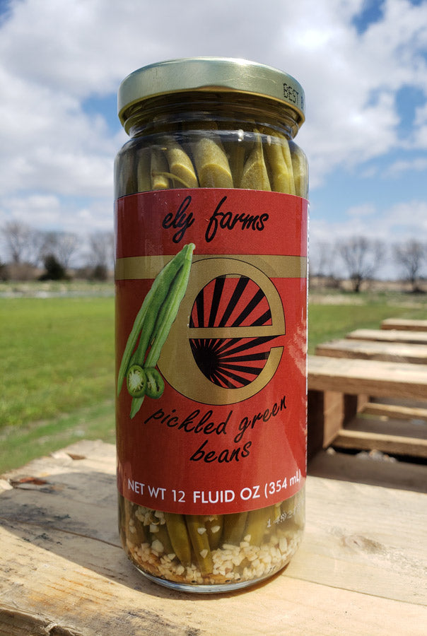 Ely Farms Pickled Green Beans 12 Ounce Jar