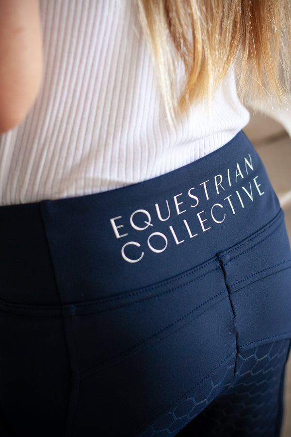 Youth Honeycomb Technical Tights: Navy-Equestrian Collective