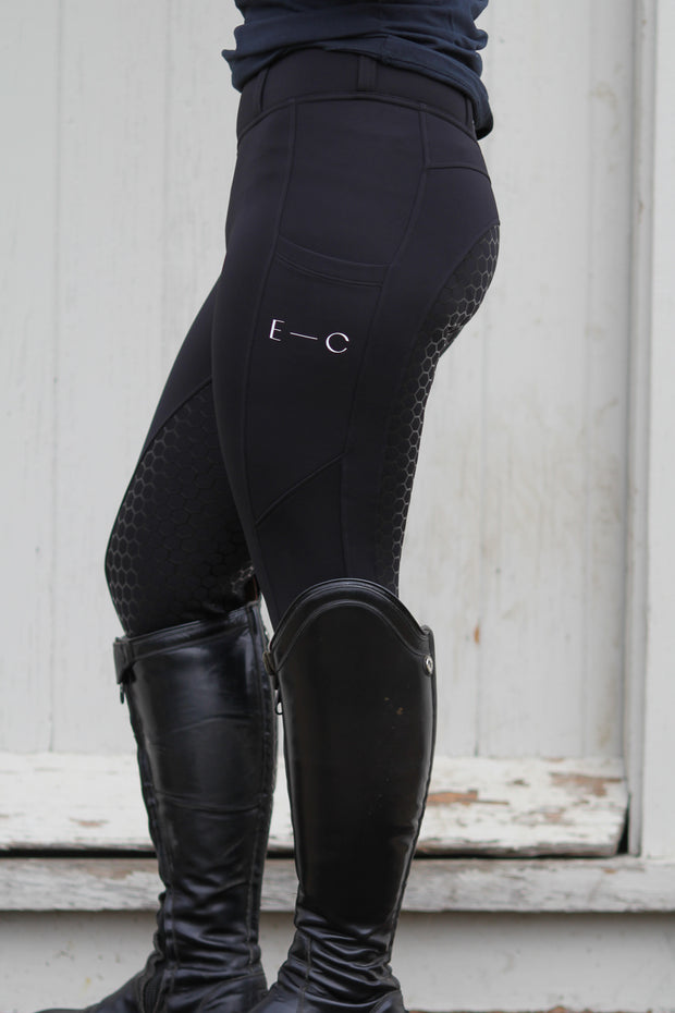 Winter Honeycomb Tights: Black & Navy-Pants-Equestrian Collective