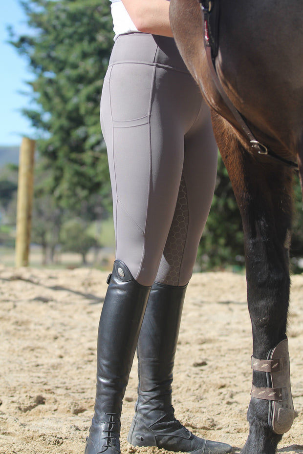 Honeycomb Technical Tights: Grey | PREORDER-Pants-Equestrian Collective