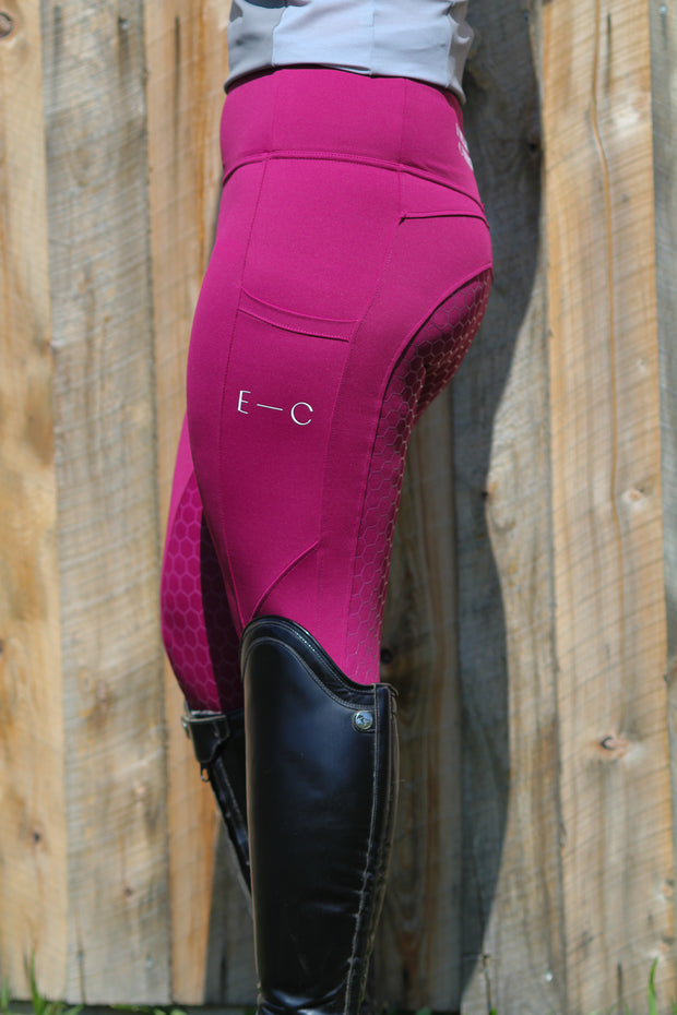 Honeycomb Technical Tights: Mulberry Wine-Pants-Equestrian Collective