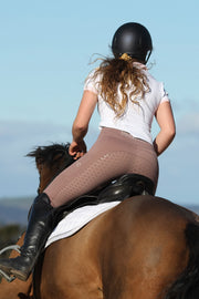 Honeycomb Technical Tights: Dusty Rose-Pants-Equestrian Collective
