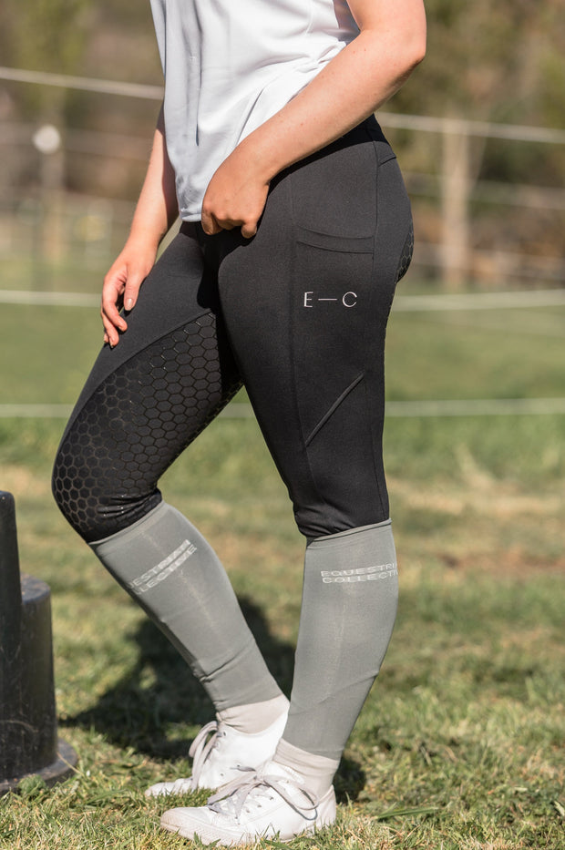 Honeycomb Technical Tights: Black-Pants-Equestrian Collective