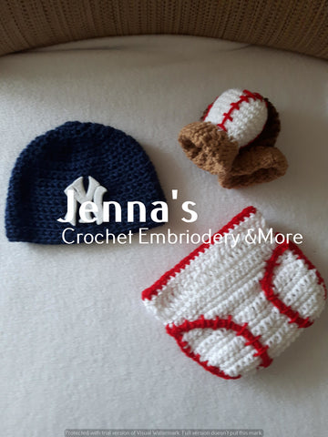 f46ec100d Newborn New York Yankees Baseball set – Jenna's Custom Crochet ...