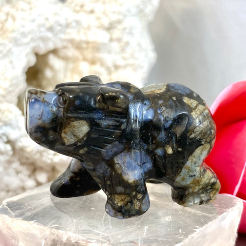 Llanite Small Hand Carved Bear 4cm