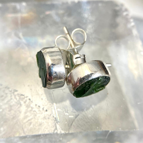 Chrome Diopside Natural Crystal Stud Earrings