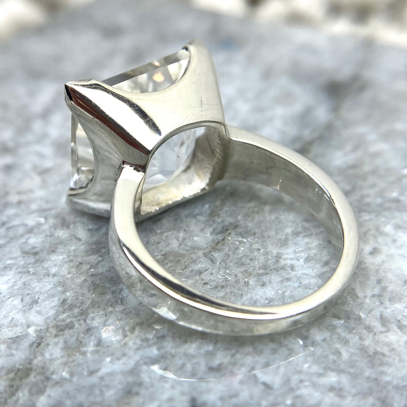 Clear Quartz Square Ring