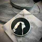 Empress & Wolf Sterling Silver & Obsidian Pendant