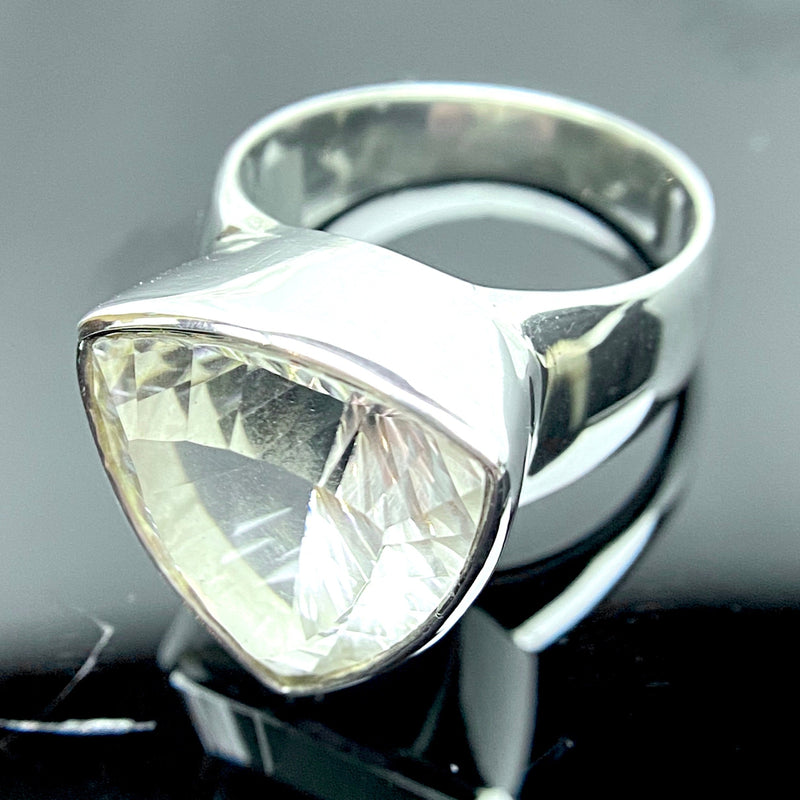 Clear Quartz Triangle Faceted Ring