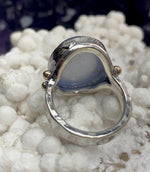 Blue Chalcedony Cabochon Ring by Lauren Harris