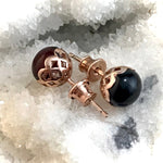 Amber Baltic & Rose Gold Studs