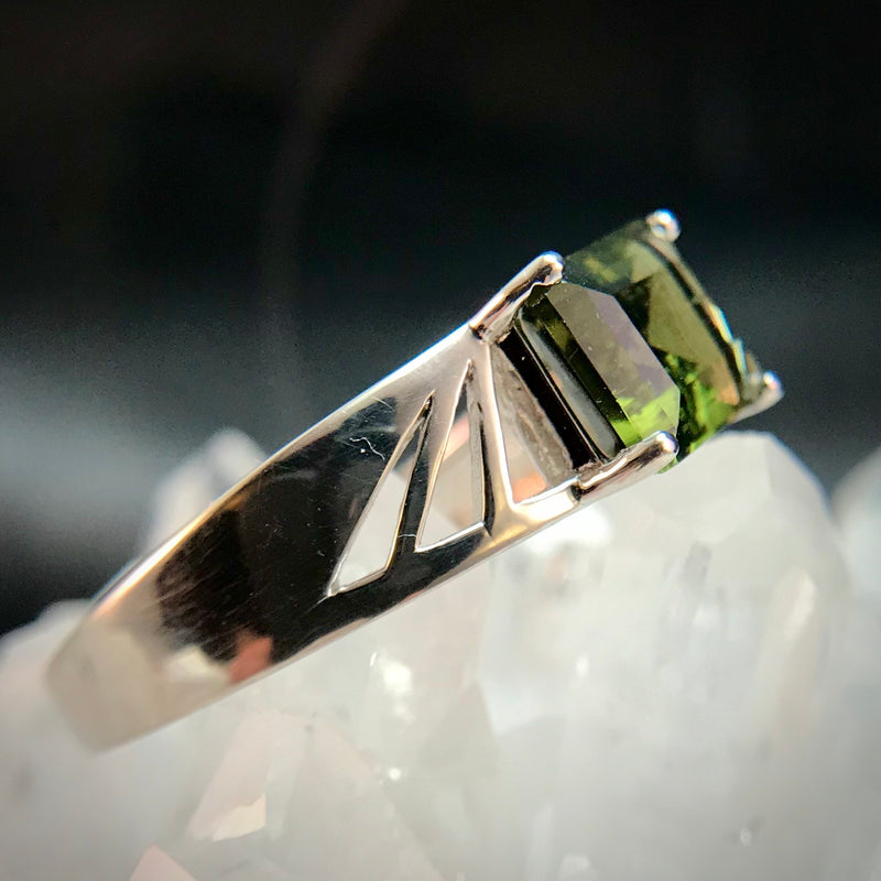 Moldavite men's ring