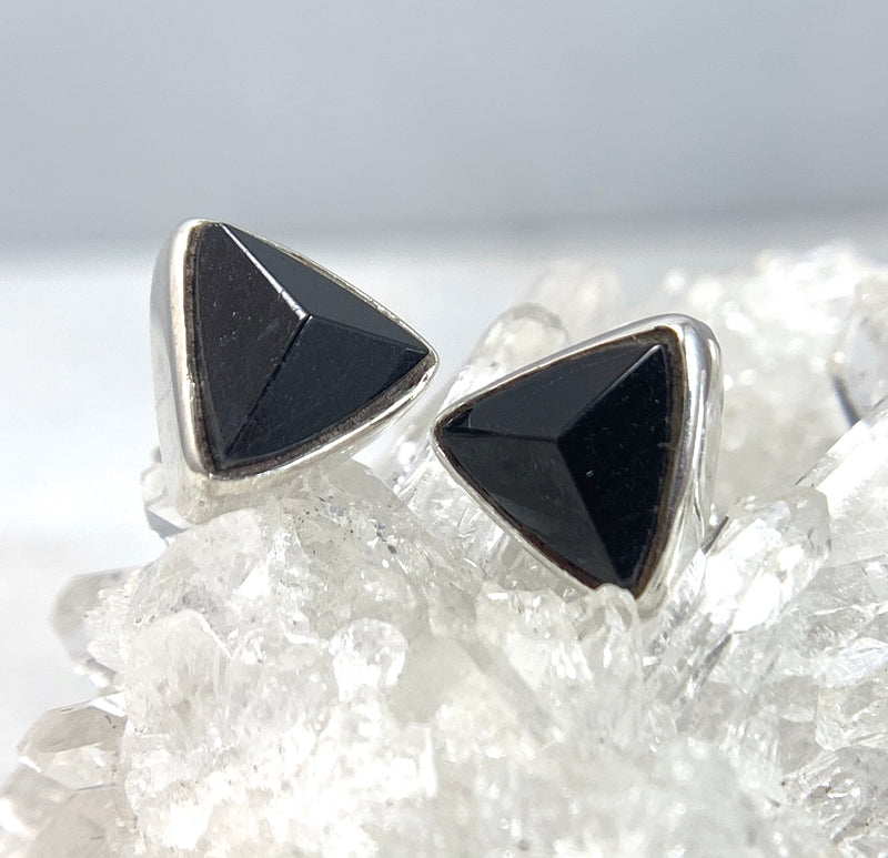 Black Tourmaline Triangle Stud Earrings