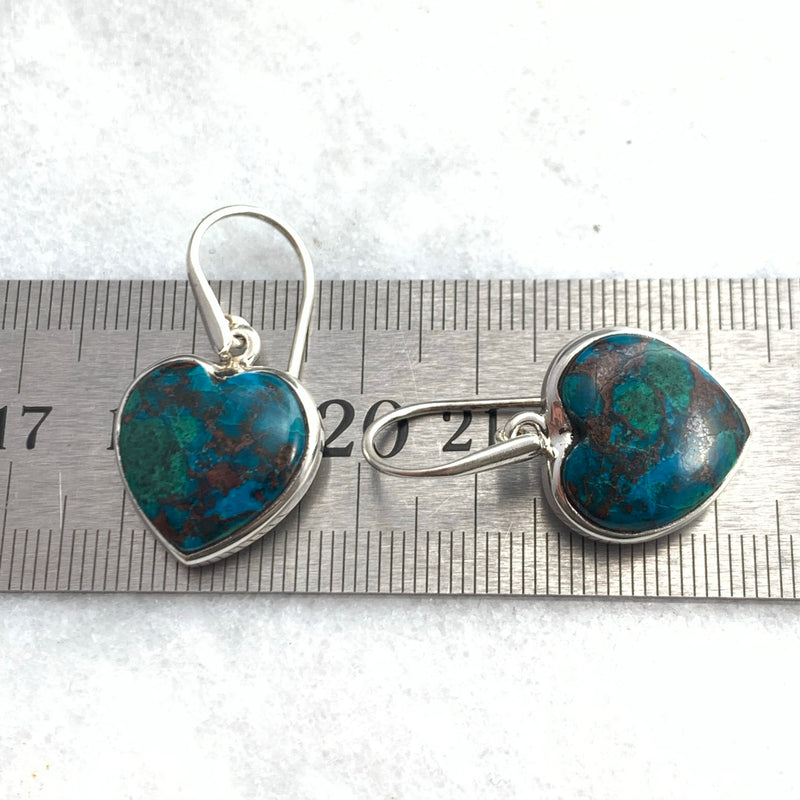 Chrysocolla with Malachite & Cuprite Inclusions Heart Earrings