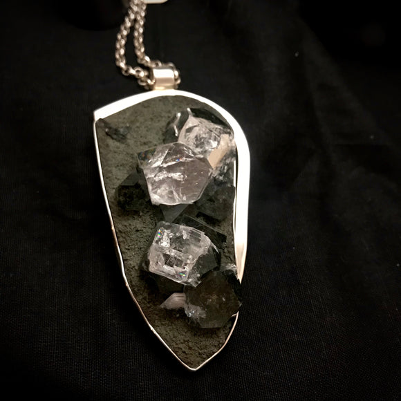 Rare Apophyllite & Stilbite on Matrix Pendant