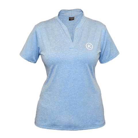 Women's Infrared Mandarin Polo, Light Blue