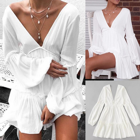Casual Pure Color Sexy   Deep V Neck Backless Mini Dresses