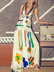 Bohemian Sleeveless V Neck Belted Printed Colour Splicing Dress