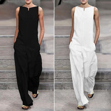 Load image into Gallery viewer, Fashion Solid Color Loose Jumpsuits ( Black & White )