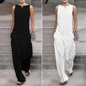 Fashion Solid Color Loose Jumpsuits ( Black & White )