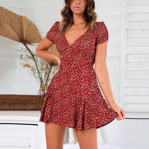 V-Neck Short-Sleeved Printed Slim Sweet Mini Dress