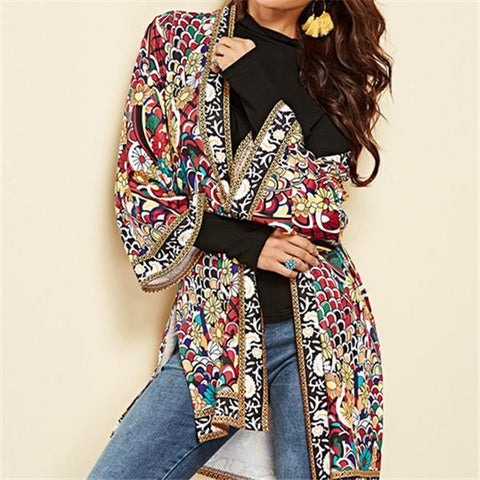 New autumn and winter cardigan women hot style long sleeve printed shirt