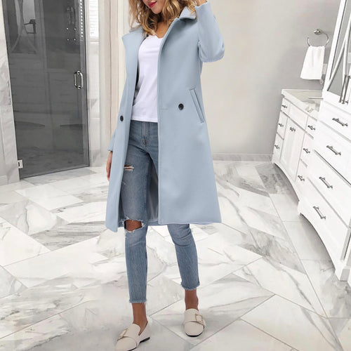 Women's Fashion Solid Color Lapel Collar Outerwear Long Coat