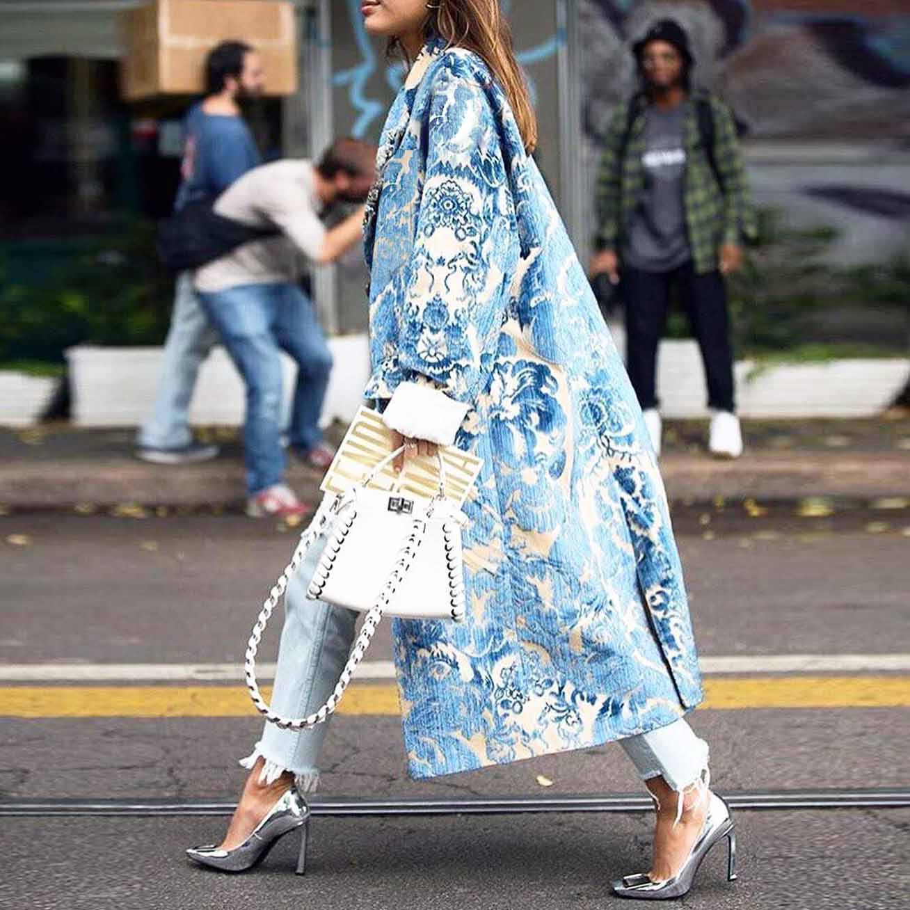 Floral Pattern Printed Long Sleeve Coat
