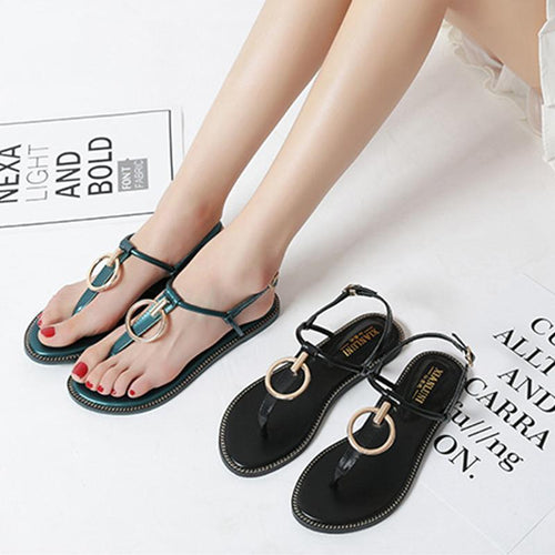 Sandals With Toe Flat With Female T-Shaped Buckle