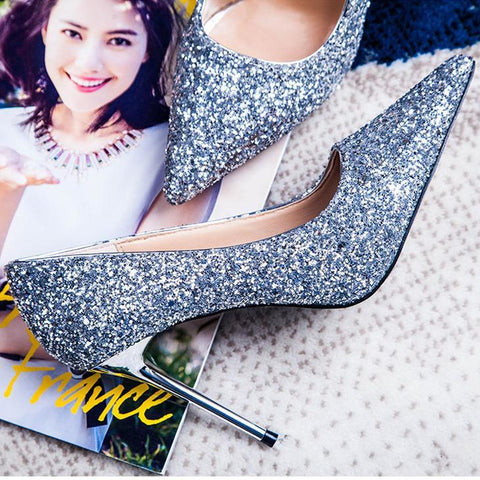 Sequined Sexy High Heel Wedding Shoes