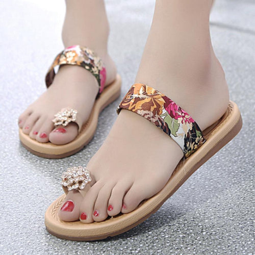 Floral  Flat  Peep Toe  Beach Casual Slippers
