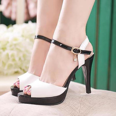 Fashion Buckle Pure Color Slim High Heel Shoes