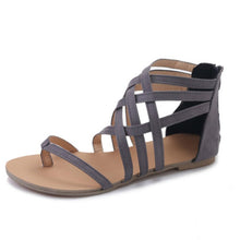 Load image into Gallery viewer, Zipper Casual Flat Heel Sandals Woman Shoes