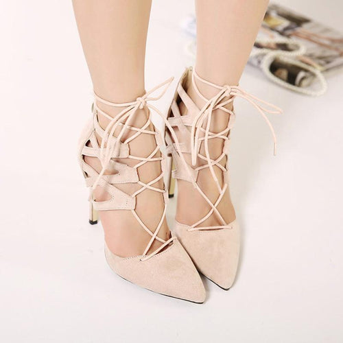 Suede Cross Strap High Heel Sandals