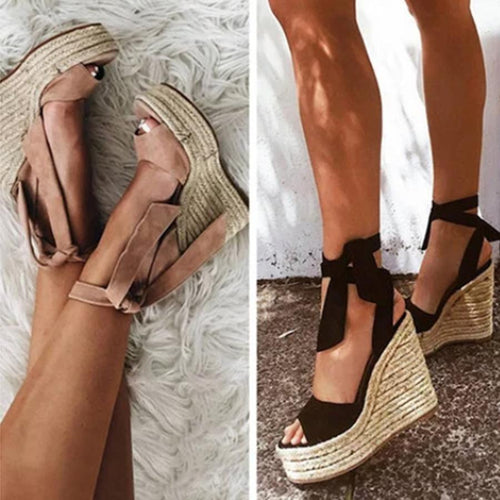Plain  High Heeled  Velvet  Ankle Strap  Peep Toe  Date Wedge Sandals