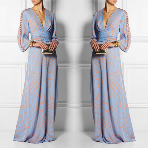 V Neck Sexy Long Sleeves Maxi Dress