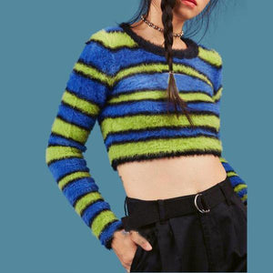 Striped Round Neck Otter Short Section Navel Sweater