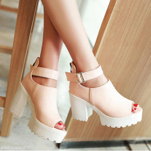 Plain  Chunky  High Heeled  Ankle Strap  Peep Toe  Outdoor Sandals